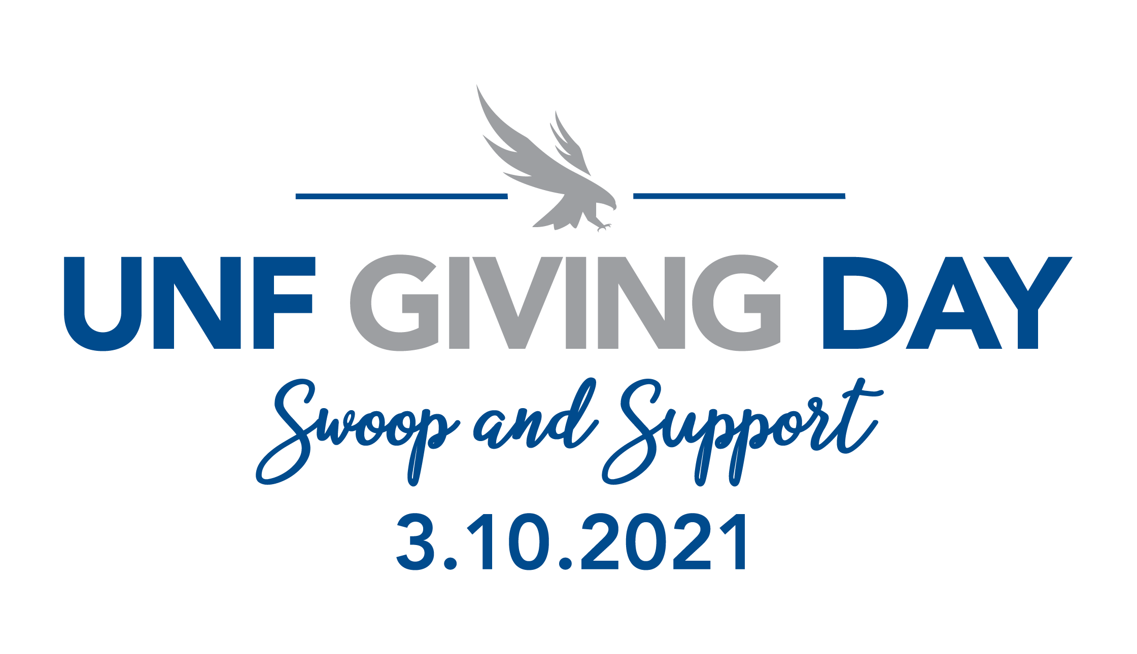 UNF Giving Day Swoop and Support March 10th 2021 - blue and gray text with a gray osprey